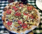 Micro-thin Crust Pizza with Artichokes, Tomatoes, Mushrooms, Italian Sausage