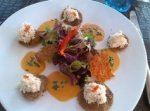 Crab Appetizer with Buckwheat Crepes in Quiberon, Brittany