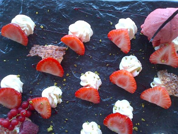 Strawberries Pere Gras strawberries with creme Chantilly Grenobles France 2017