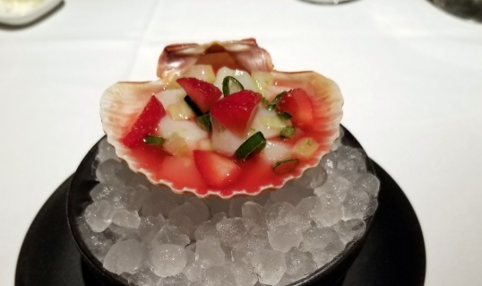 strawberries scallop ceviche with strawberries and rhubarb Gramercy Tavern