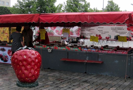 strawberries stand near hotel Helsinki Finland 2017