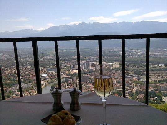 strawberries view of Grenoble France from Pere Gras Restaurant